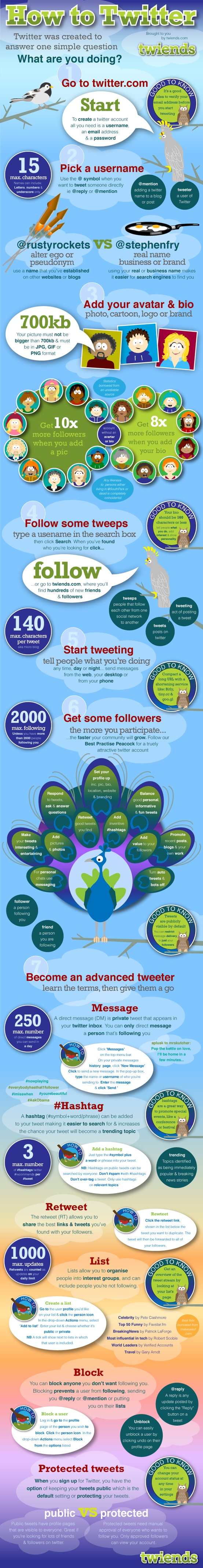 Infographic on the basics on how to use Twitter