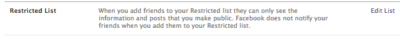 Facebook privacy settings - restricted list