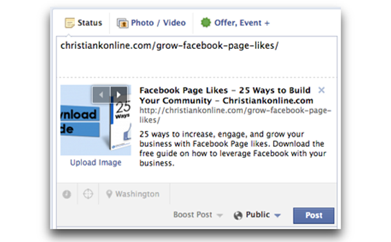 Upload your own Facebook link thumbnail image on your Facebook Page
