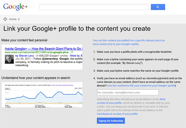 Sign-up for Google Authorship