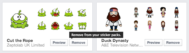 How to remove Facebook stickers