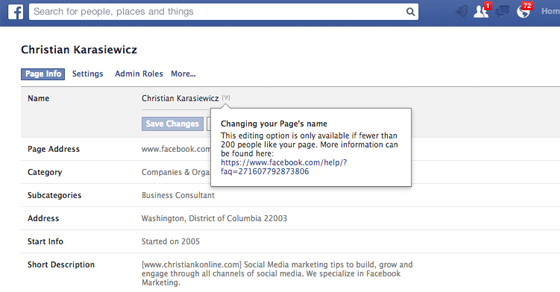 How to rename a Facebook Page.